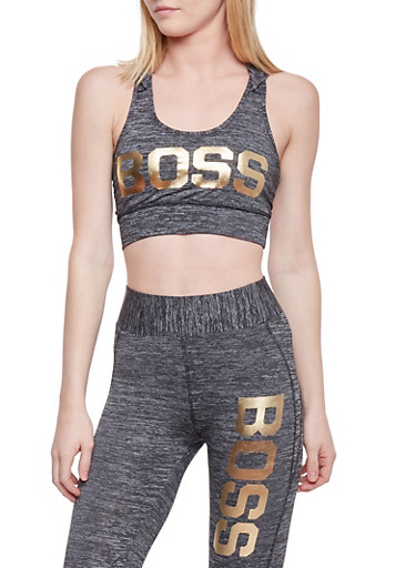 Hooded Caged Back Activewear Crop Top with Boss Graphic,CHARCOAL,large