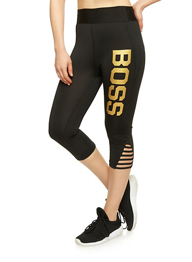 Caged Leg Activewear Capri Pants with Boss Graphic,BLACK/GOLD,large