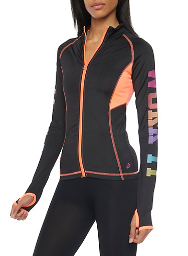 Zip Jacket with Work It Graphic,BLACK,large