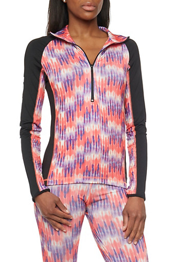 Athletic Long Sleeve Tye Dye Pull Over Jacket,CORAL,large