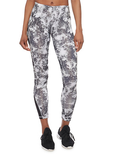 Tye Dye Athletic Leggings,BLACK,large