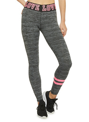 Space Dye Leggings with Graphic Love Print Waistband,CHARCOAL,large