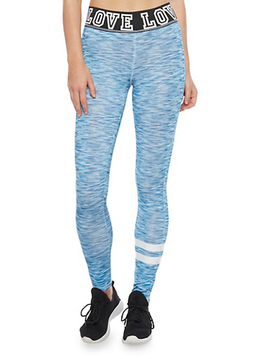 Space Dye Leggings with Graphic Love Print Waistband,BLUE,large