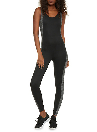 Sleeveless Active Catsuit with Marled Stripe Accent,BLACK,large
