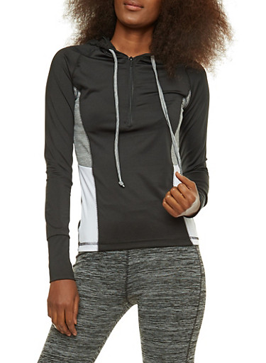 Printed Active Hooded Top,HEATHER,large