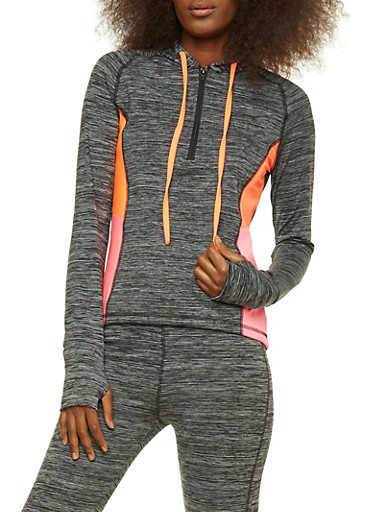 Printed Active Hooded Top,PINK,large