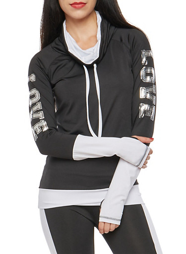 Love Graphic Cowl Neck Sweatshirt,BLACK,large