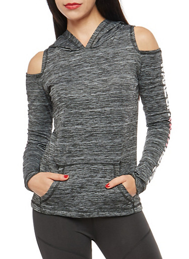 Cold Shoulder Graphic Hooded Activewear Top,BLACK,large