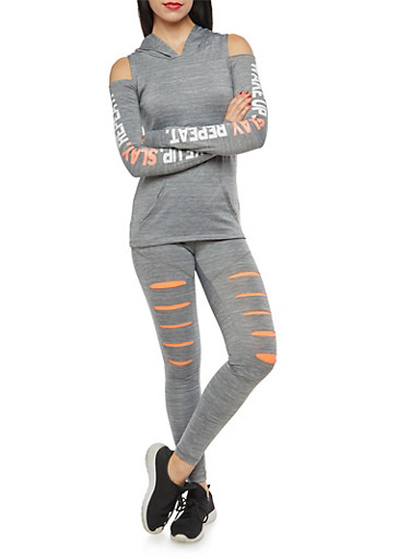 Cold Shoulder Graphic Hooded Activewear Top,HEATHER,large