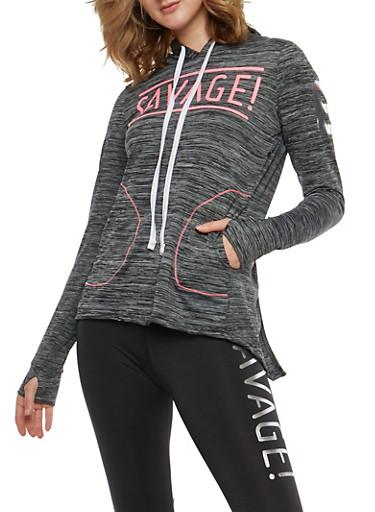 Savage Graphic Hooded Sweatshirt,CHARCOAL,large