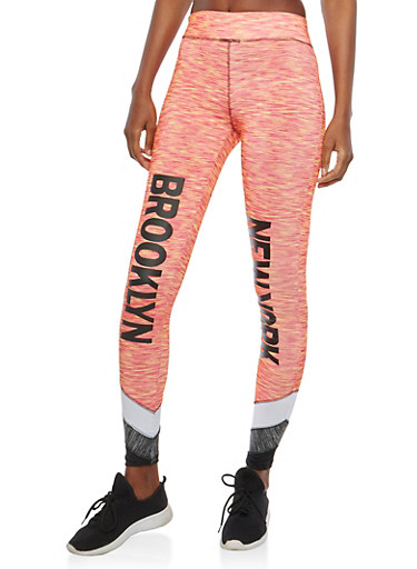 Graphic Active Leggings,CORAL,large