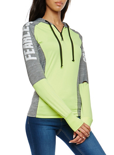 Marled Graphic Color Block Activewear Top,LIME,large