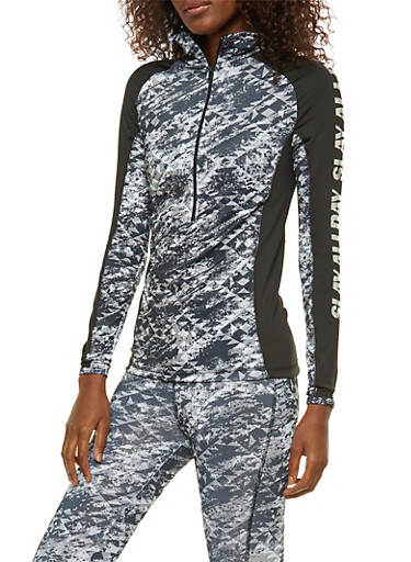 Foil Graphic Printed Active Top,BLACK,large