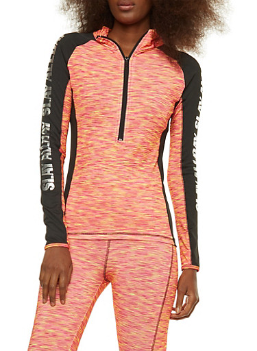 Foil Graphic Printed Active Top,PINK,large
