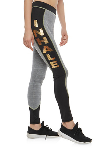 Inhale Exhale Graphic Active Leggings,CHARCOAL,large