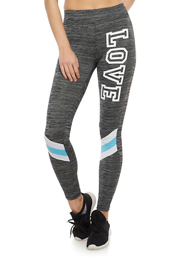 Love Graphic Activewear Leggings,CHARCOAL,large