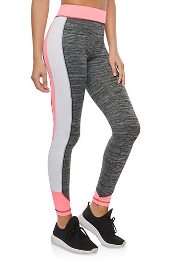 Marled Active Leggings,PINK,large