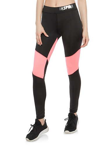 Color Block Active Leggings,PINK,large