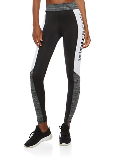 Never Give Up Graphic Activewear Leggings,BLACK,large