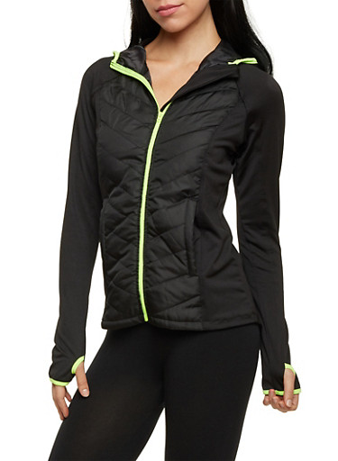 Hooded Jacket with Quilted Paneling,BLACK,large