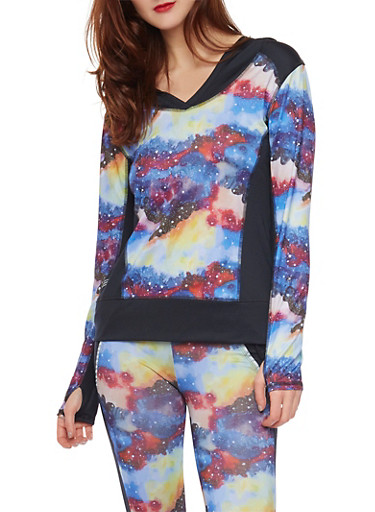 Hooded Activewear Top in Abstract Print,BLUE,large