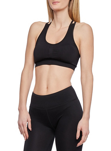 Seamless Sports Bra with Criss Cross Back,BLACK,large