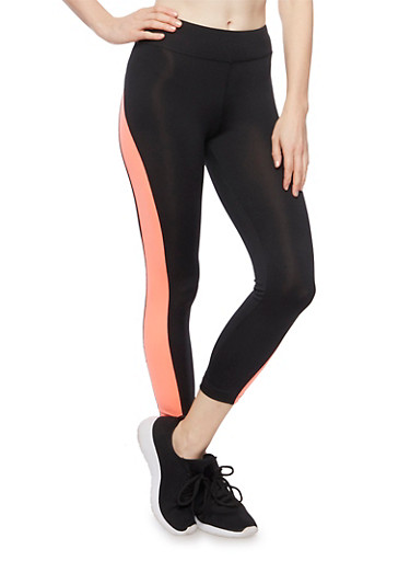 Cropped Color Block Leggings,BLACK/CORAL,large
