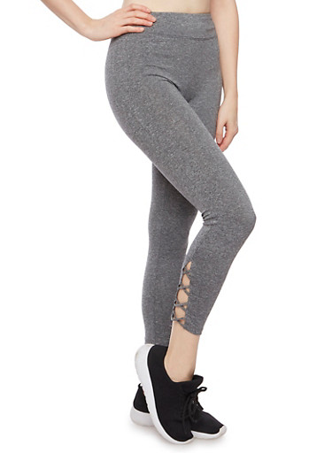 Cropped Leggings with Lace Up Panel,CHARCOAL,large