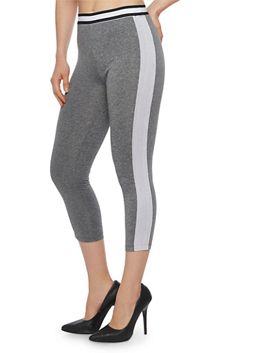 Two Tone Mesh Activewear Leggings,CHARCOAL,large
