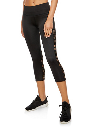 Shadow Striped Activewear Cropped Leggings,BLACK,large