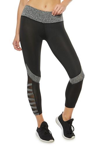 Sheer Side Activewear Leggings,BLACK,large