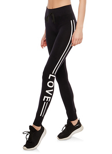 Graphic Love Athletic Striped Leggings,BLACK,large