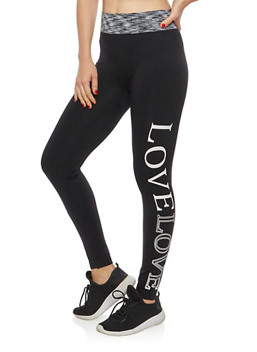 Love Graphic Leggings with Space Dye Waistband,BLACK,large