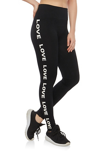 Love Graphic Leggings,BLACK,large