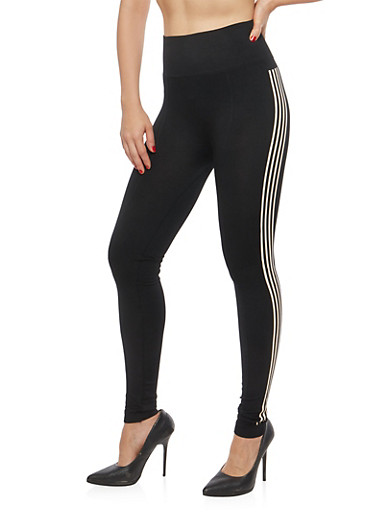 Athletic Stripe Leggings,BLACK,large