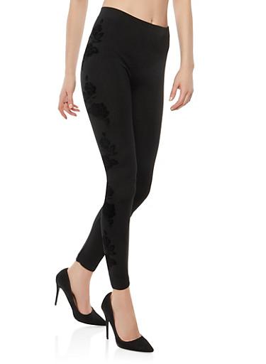 Velvet Print Fleece Lined Leggings,BLACK,large