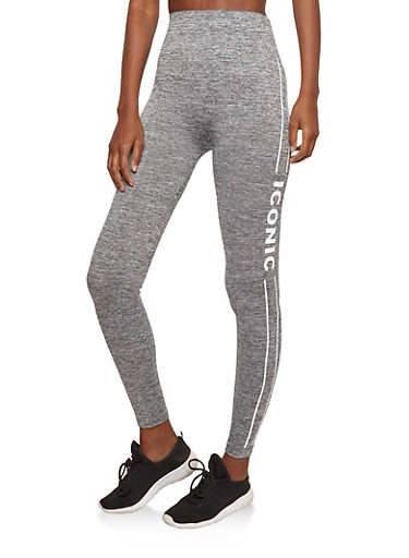 Marled Iconic Graphic Active Leggings,GRAY,large