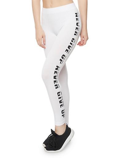I Woke Up Like This Graphic Activewear Leggings,WHT-BLK,large