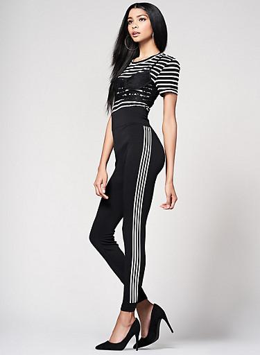 Athletic Stripe Leggings,BLACK,large