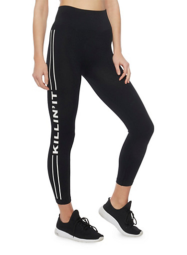 Graphic Cropped Leggings with Varsity Stripe,BLACK,large