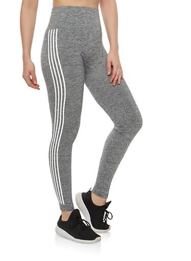 Athletic Stripe Leggings,HEATHER,large