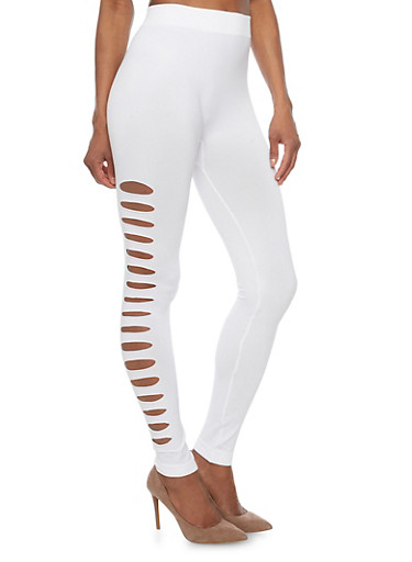 Seamless Laser Cut Leggings,WHITE,large