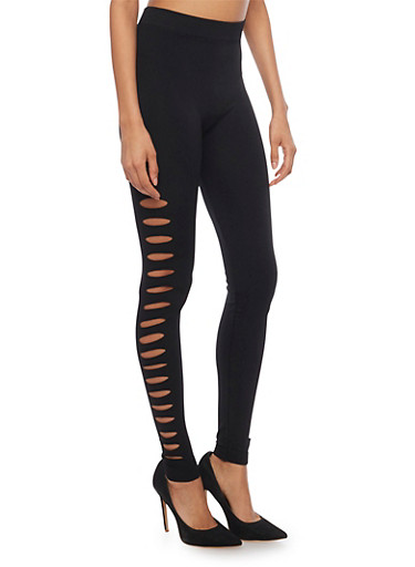 High Waisted Leggings with Side Cutouts,BLACK,large