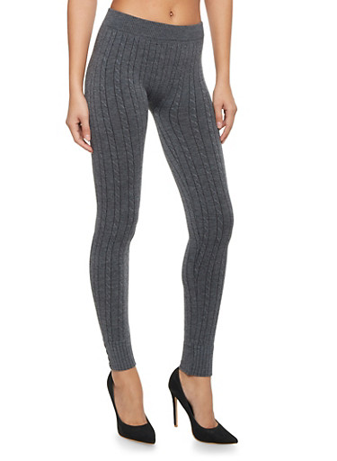 Cable Knit Leggings with Buttons,GRAY,large