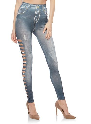 Slashed Side Denim Print Leggings,BLACK,large