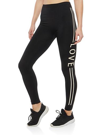 Love Graphic Fleece Lined Leggings,BLACK,large