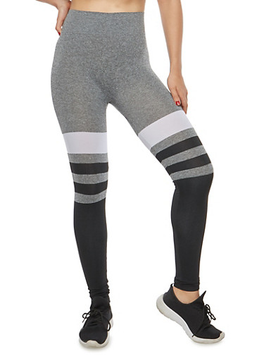Striped Color Block Leggings,CHARCOAL,large