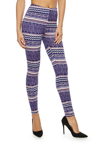 Soft Knit Printed Leggings,NAVY,large