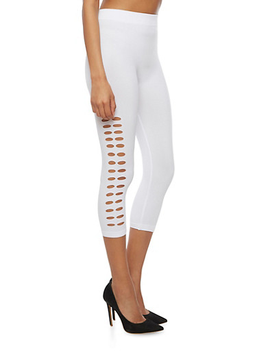Lasercut Side Capri Leggings,WHITE,large