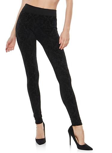 Velvet Burnout Leggings,BLACK,large